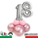 KIT centrotavola per adulti con numero degli anni del festeggiato. Gonfiaggio ad ARIA. PERSONALIZZABILE – 18