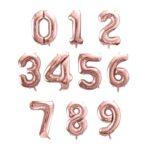 Palloncino in foil a forma di numero colore rosa gold misura 35cm