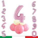 KIT centrotavola rosa pastello con numero. GONFIAGGIO AD ARIA.