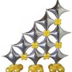 Palloncino in foil a forma di stella 4 punte misura 24 inch (60 cm)