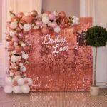 Muro 4D con paiette elegante sfondo per tavolo della torta